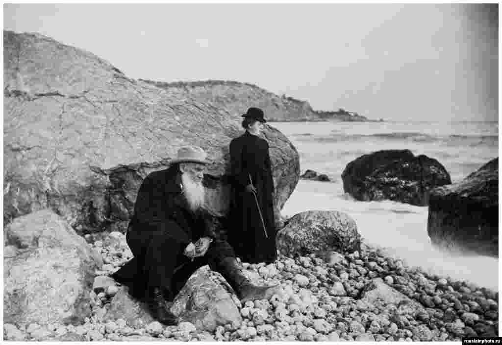 Tolstoy with his daughter Aleksandra on the seaside at an unknown location in 1901. Tolstoy was excommunicated from the Russian Orthodox Church the year this photograph was taken.