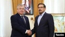 علی شمخانی (راست) در دیدار با الکساندر لاورنتیف، نماینده ویژه رئیسجمهوری روسیه در امور سوریه.