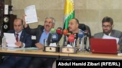 ممثلو الكيانات المعترضة في مؤتمر صحفي بأربيل