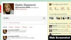 Slavica Đukic Dejanović na Tviteru