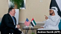 UAE -- US. Secretary of State Mike Pompeo (L) and Abu Dhabi's Crown Prince Sheikh Mohammed bin Zayed Al Nahyan meet at Al-Shati Palace in Abu Dhabi, July 10, 2018