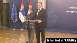 Presidenti i Serbisë, Aleksandar Vuçiq dhe kryeministrja serbe, Ana Brnabiq