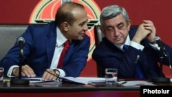 Armenia - President Serzh Sarkisian and parliament speaker Hovik Abraamian at a congress of the ruling Republican Party, Yerevan, 15Dec2012.