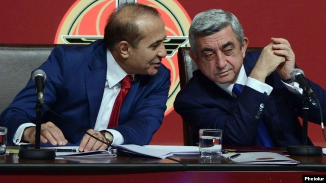 Armenia - President Serzh Sarkisian and parliament speaker Hovik Abrahamian at a congress of the ruling Republican Party, Yerevan, 15Dec2012.