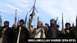A pro-government anti IS volunteers brandish their weapons in eastern Afghanistan.