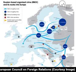 Діяльність російських кримінальних структур у Європі. Карта з доповіді Марка Галеотті