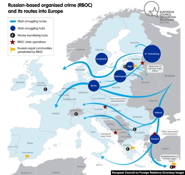 Деятельность российских криминальных структур в Европе. Карта из доклада Марка Галеотти