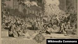 Аллегорическое изображение банкротства системы Джона Ло. Гравюра Бернара Пикара. 1720