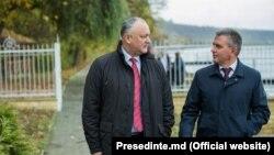 Președintele Igor Dodon și liderul de la Tiraspol Vadim Krasnoselski la Holercani, 29 octombrie 2019