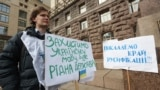 Yehor Huskov during a one-man rally to promote speaking Ukrainian.
