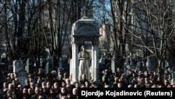 На похоронах Оливера Ивановича в Белграде. 18 января 2018 года.