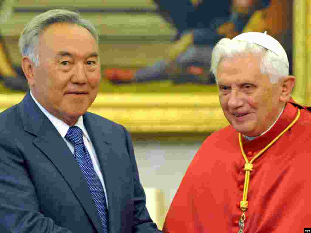 Pope Benedict meets with Kazakh President Nursultan Nazarbaev (left) during an audience at the Vatican, in November 2009.
