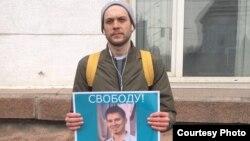 Одиночный пикет в поддержку блогера Стаса Калиниченко в Кемерове