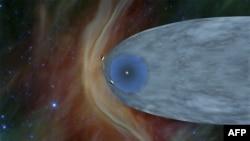 تصویری انتزاعی از محل دو وویجر نسبت به سپر مغناطیسی خورشید