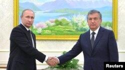 Путин ва Мирзиёев Самарқанддаги учрашув чоғида, 2016 йил 6 сентябри.