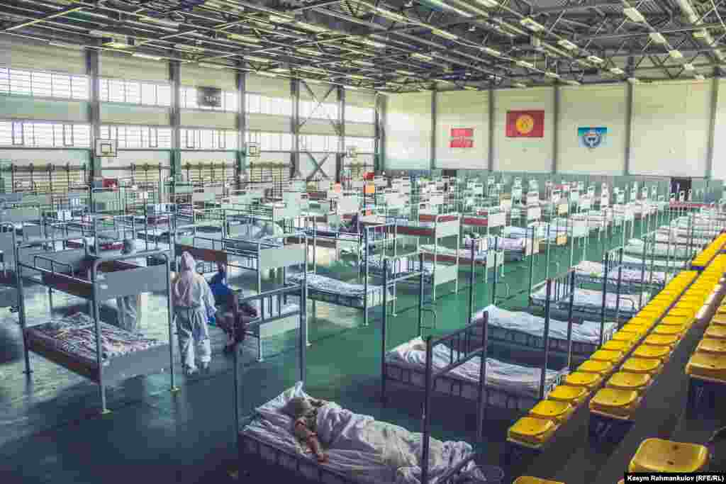 A 570-bed makeshift hospital in Kyrgyzstan's northwestern Talas region, which officially recorded its first COVID-19 cases in June.