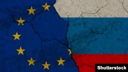 Знамињата на ЕУ и на Русија