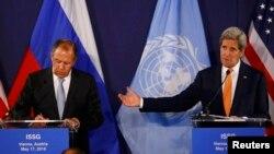 Сергей Лавров и Джон Керри на пресс-конференции в Вене, 17 мая 2016 г.