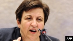 Iranian Nobel laureate Shirin Ebadi's remarks came at an event organized by several human rights groups in Geneva on February 12.