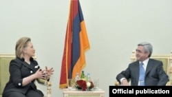 Armenian President Serzh Sarkisian was one of five leaders U.S. Secretary of State Hillary Clinton met with during her whirlwind tour of the region.