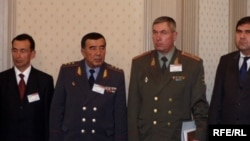 Former Interior Minister of Uzbekistan Zokir Almatov(second from left) with other Uzbek security officials.Tashkent, 2005