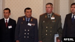Former Uzbek Interior Minister Zakir Almatov (second from left) is shown with other Uzbek security officials in Tashkent in 2005.