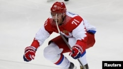 Russia's Ilya Kovalchuk celebrates his goal against Finland in the Sochi Olympics in February 2014.
