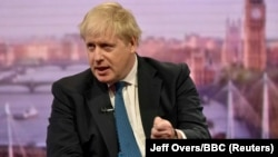 UK -- British Foreign Secretary Boris Johnson attends the BBC's Marr Show in London, April 15, 2018.