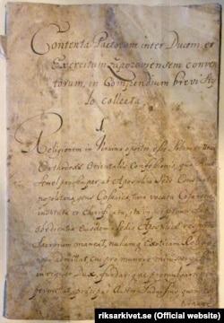 Перша сторінка Конституції Пилипа Орлика, написана латинською мовою