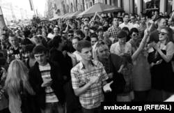 Пачатак «маўклівай акцыі» ў Менску, 22 чэрвеня 2011 году
