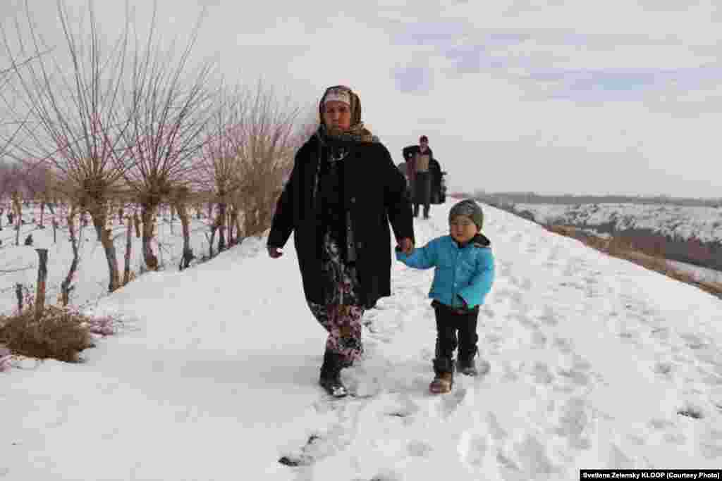 Isaeva regularly walks to the Kyrgyz side of the border to do her grocery shopping.
