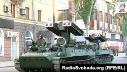 ЗРК «Стріла-10» на репетиції параду військової техніки в окупованому Донецьку, 2017 рік