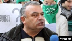 Armenia - Rafik Atayan, mayor of Kajaran village, takes part in an environmental protest in Yerevan, 29Dec2011.