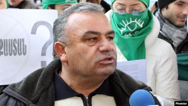 Armenia - Rafik Atayan, mayor of Kajaran village, takes part in an environmental protest in Yerevan, 29Dec2011.