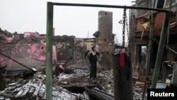 Разрушенный дом недалеко от Донецкого аэропорта. 1 марта 2015 года