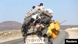 د یمن په مارب ښار کې یو شمېر کډوال