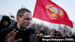 Sergei Udaltsov attends a protest over the results of the presidential election in Moscow in March.