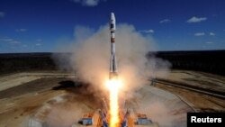 A Russian Soyuz 2.1A rocket carrying Lomonosov, Aist-2D and SamSat-218 satellites lifts off from the launch pad at the new Vostochny Cosmodrome late last month.