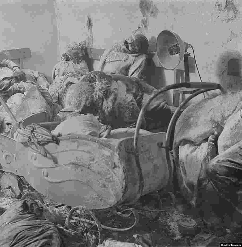 Bodies inside a Dresden basement where they had sought shelter from the bombs. With the oxygen sucked out of the air by the firestorm above, many people suffocated in their shelters.