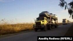 Azərbaycan yollarında İrana məxsus yük maşınları