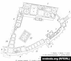 Адна зь першапачатковых схем рэканструкцыі: мерная ізба (7), сярэдняя вежа (5), камяніца пры сярэдняй вежы (6). Барбакана на схеме няма