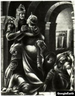 Тариэль жана Нестан-Дарежан. Поэмага С. Кобуладзе жасаган иллюстрациядан.