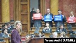Federica Mogherini vorbind în Parlamentul Serbiei