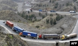 Trucks driving through the Khyber Pass. (file photo)