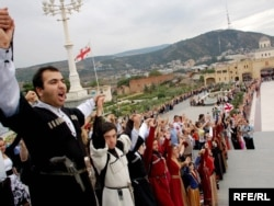 Людская цепь в Тбилиси, 1 сентября 2008 года