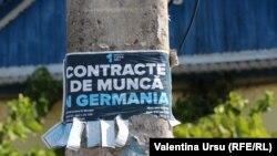 Un afiș la Cimișlia oferind contracte de muncă în Germania