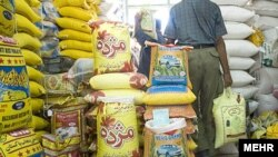 Iran -- Rice from abroad in Iran stores, undated