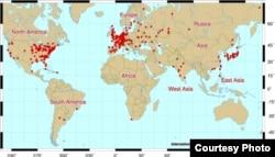 Мапа атамных станцыяў сьвету
