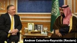 Սաուդյան Արաբիայի թագաժառանգ Մոհամադ Բին Սալմանի և ԱՄՆ պետքարտուղար Մայք Փոմփեոյի բանակցությունները Էր-Ռիյադում, 14-ը հունվարի, 2019թ.