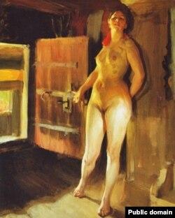 Андэрс Цорн, «Дзяўчына на падстрэшшы» (1905)